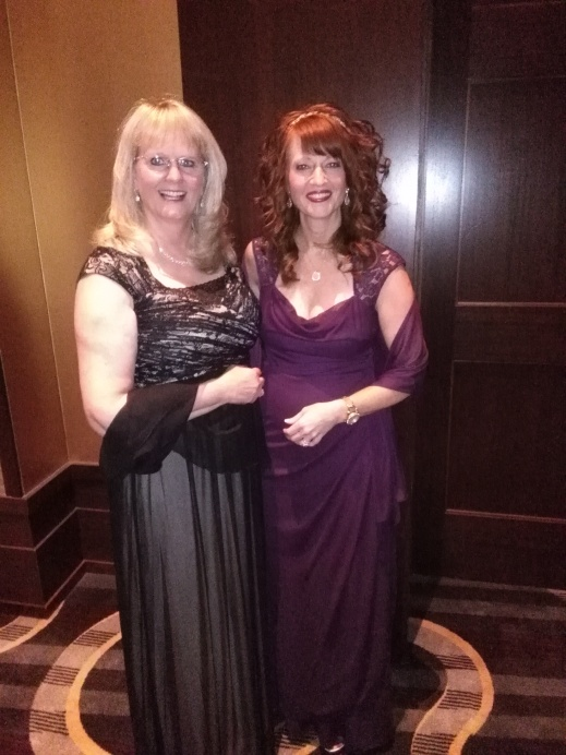 My friend Loretta and I all dressed up!
